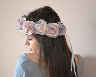Fabric Flower Crown, Floral Headband, Bridal Headband, Vintage Headpiece, Festival Headband