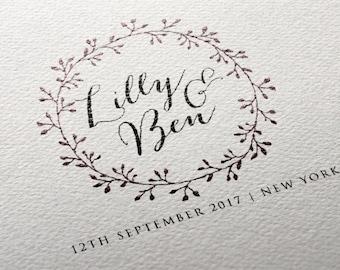 Wreath Wedding Monogram, Custom Logo Design | DIY Digital Wedding Logo | Save the Date | Wedding Stationery | Custom Monogram | Printable