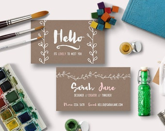 Vintage Kraft Business Card Digital Printable | Custom, DIY Calling Card, Printable, Personalize | Photographers, small business, design