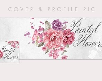 Watercolor Floral Timeline Cover + Profile Picture | Painted Flowers | Cover, Profile Picture, Branding, Web Banner, Blog Header