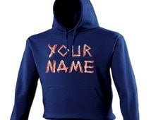 Your Name Bacon Design Hoodie - Funny Slogan Joke hoody hooded gift pork pig meat eat fast fry slices kitchen supermarket personal 123t