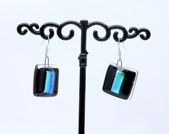 Dichroic Glass Fusing Turquoise earrings