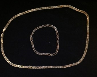 Vintage 1970ies set of a delicate Italian 925 silver necklace and bracelet