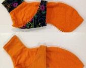 Whippet Coat Chest Piece Style Size Medium in Orange Topsy Turvy Style with Neon Animal Polar Fleece.