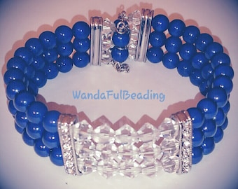 Blue Swarovski Pearl and Crystal 3 Strand Beaded Memory Wire Beaded Bracelet size 7.5 to 8.5 inches