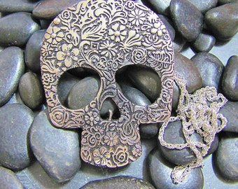 Skull with chain necklace, dia de los muertos, Halloween, Day of the Dead, Gothic free shipping ready