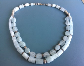 Afghan Aqua Marine stone and sterling silver beads, double string. Boho necklace.