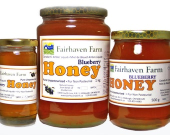 BLUEBERRY HONEY -- 100% Canadian Liquid, Pure, Raw, Unpasteurized. Valentines, Gift for Her, Gift for Him, Easter, Condiment