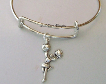 CHEER / CHEERLEADER /  Adjustable Bangle Bracelet / Charm Bracelet / Stack able / Under Twenty /  Gift For Her- SC1