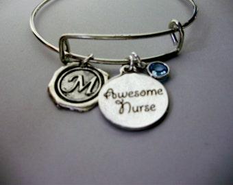 Silver Awesome NURSE CHARM / Adjustable Bangle Bracelet W/ Birthstone Crystal Drop / Waxed Initial Charm / Under Twenty -  Usa N1