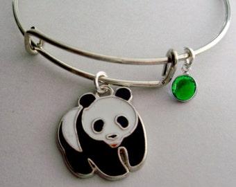 Pick A Initial -  PANDA BEAR Charm Bracelet / Adjustable / Expandable Bangle W/ Birthstone / Initial Charm  / Under Twenty /   Usa  A1