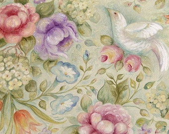 Victorian Dove Pastel Painting. Watercolor gouache Print, Matted Art Print in 5x7, 8x10, 11x14, Home Decor or Wedding Gift Rose Flower Print