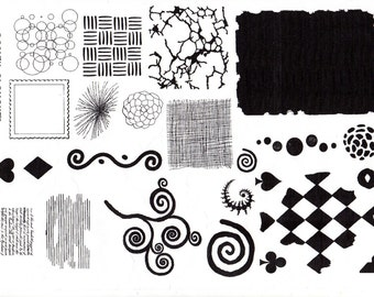 Design Elements - Unmounted A4 Rubber stamps-Background designs