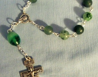 NEW Green gemstone Single Decade Rosary
