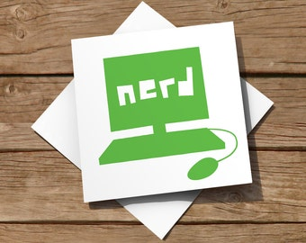 FREE delivery – General blank card with green 'Nerd' computer design, suitable for birthdays