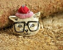 Cat brooch Thoughtful cat, Paper mache cat brooch