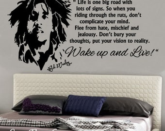 Bob Marley Wake Up And Live Vinyl Removable Wall Art Sticker Decal Home  Decor