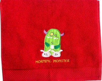 "Gästehandtuch ""Morning Monster"" embroidered towel"
