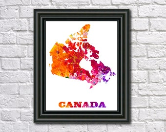 Canada Map Paint Splashes Canada Art Print Home Office Canada Decor Canada Country Outline