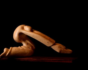 "Wood Sculpture, Abstract,  Praying Figure, ""Devotion"""