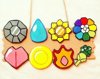 Hand Carved Pokemon Kanto Badges