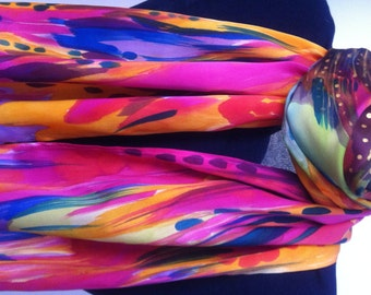 "Hand painted silk scarf ""Passion"""