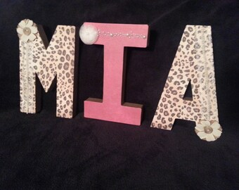 Custom made Leopard Letters Names Intials-Wall Decor, Photo Props