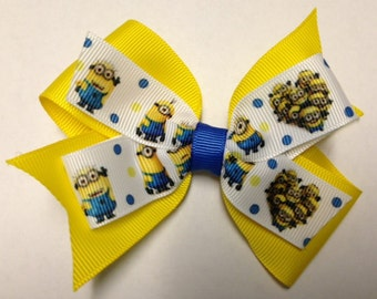 """4"""" Minion Despicable Me glasses yellow hair bow baby clip birthday party toddler teen adult over the top OTT pinwheel hairbow one eye eyed"""