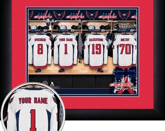 Locker Room Print -NHL-Washington Capitals-Personalized!! MATTED and FRAMED