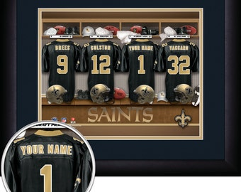 Locker Room Print -NFL- New Orleans Saints -Personalized!! MATTED and FRAMED