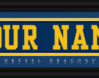 Drexel Dragons- Free Shipping-Personalized Jersey Stitch FRAMED Print-NCAA