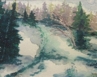 Winter Forest. Original Watercolor painting. FRAMED