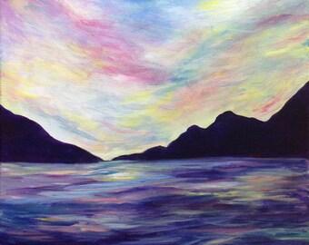 Sunset. Original Acrylic Painting.