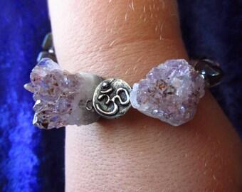 Raw Amethyst, Amethyst & Smokey Quartz Crystal with Namaste Charm Bracelet