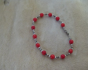 Coral and sterling silver beaded bracelet