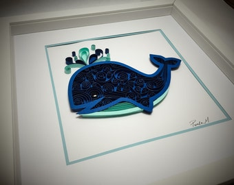 Nautical Quilled Whale Paper Art