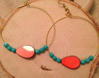Turquoise and Orange Beaded Wire Wrapped  Earrings