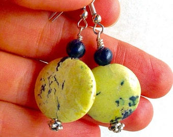 Lime green jasper and black onyx earrings on sterling silver pins by Bhakti Kreationz.