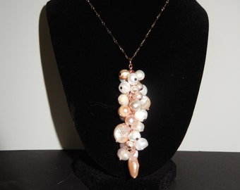 Freshwater Pearl Cluster on a Rose Gold Toned Chain
