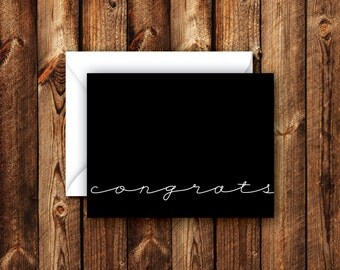 Solid Modern Contemporary Folded Blank Congrats Card Note Card Black and White