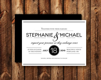 Modern Clean Contemporary Circle Wedding Invitations Printable or Printed Black and White