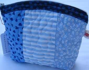 Small blue and white patchwork cosmetic purse