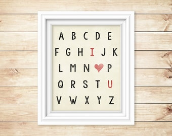I love you alphabet print - Fun way to say I love you - Perfect for a bridal shower, wedding or anniversary gift!