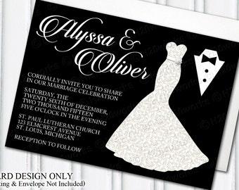 Glamorous Dress & Tuxedo Wedding Invitation - Glam Themed Weddings, Dress, Gown, Tux, Ivory, White, Black, Bride, DIY, PRINTABLE