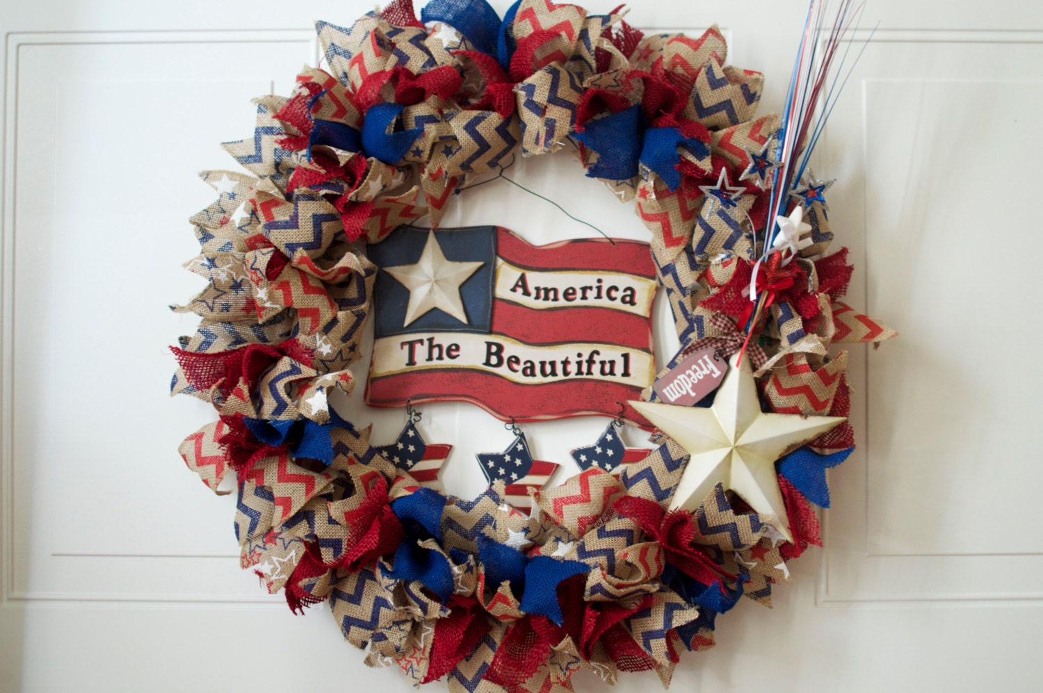 Fourth Of July Flag Door Wreath 25 Large Burlap Red