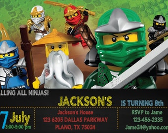 Lego Ninjago Invitation for Birthday Party - DIY Print Your Own Invite - Printable Digital File