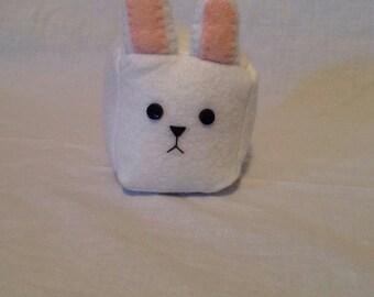 Chubby Bunny Plushie/Pin Cushion//Bunny Plush//Recycled Felt