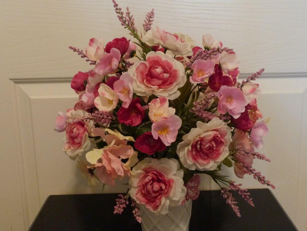 Silk flower centerpiece dining table floral