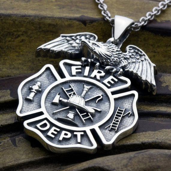 Fire Department Maltese Cross Necklace: Large Firefighter Fire Department Maltese Cross With Eagle On
