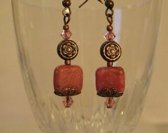 Pink rhodonite stone with copper earrings